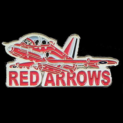 Red Arrows Hawk & Wording Pin Badge