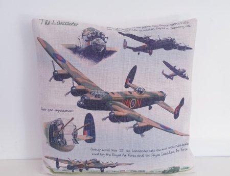 Lancaster Bomber Hessian Print Cushion Cover