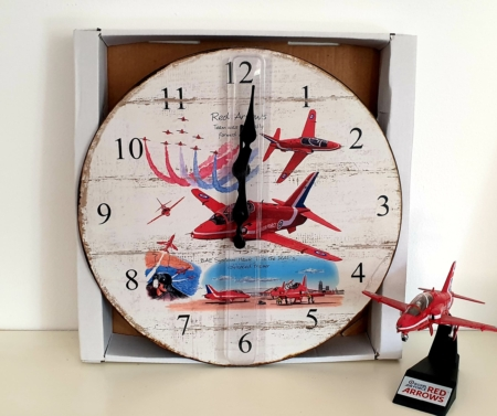 Red Arrows Wooden Wall Clock
