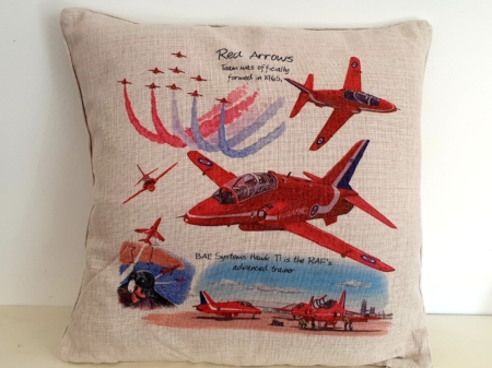 Red Arrows Hessian Print Cushion Cover