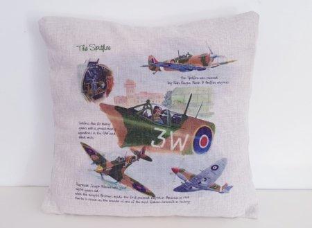 Spitfire Hessian Print Cushion Cover
