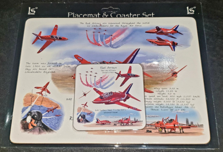 Red Arrows Wooden Placemat & Coaster Set