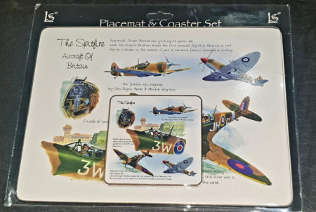 Spitfire Wooden Placemat & Coaster Set